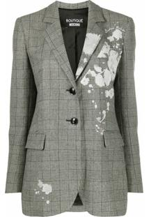 Boutique Moschino Blazer Xadrez Com Estampa Floral - Preto