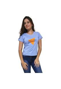 Camiseta Feminina Gola V Cellos Nacho Premium Azul Claro