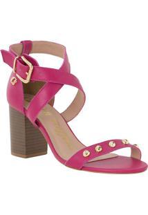 Sandália Tradicional Em Couro Com Tiras Cruzadas- Pink