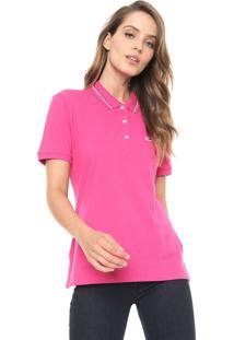 Camisa Polo Tommy Jeans Reta Listras Rosa