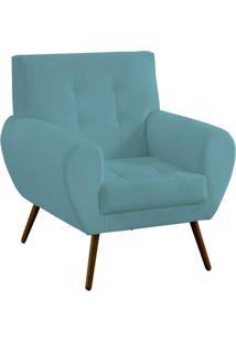 Poltrona Decorativa Beluno Pés Palito Suede Azul Tiffany - Ibiza