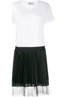 Redvalentino Vestido Evasê Mangas Curtas Bicolor - Branco