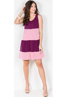 Vestido Regata Com Babados Vinho/Rosa Claro