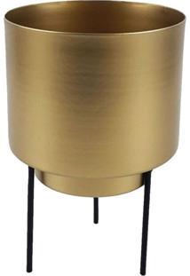 Cachepot De Metal Dourado Com Suporte De Metal