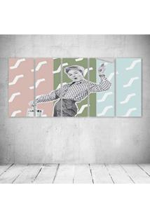 Quadro Decorativo - Paint Woman Vintage - Composto De 5 Quadros - Multicolorido - Dafiti