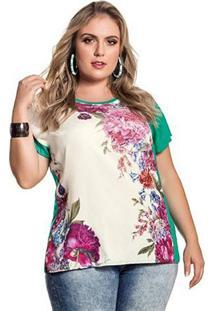Blusa Plus Size Verde Viscose Frente Estampada