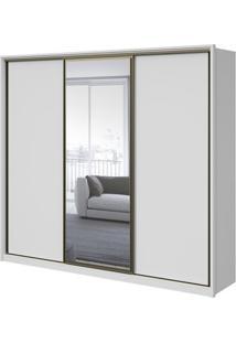 Guarda-Roupa Spazio Glass Com Espelho - 3 Portas - 100% Mdf - Branco
