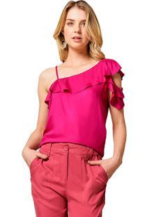 Blusa Mx Fashion Com Babados Kaire Rosa