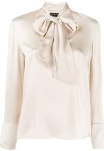 Alice+Olivia Satin Tied Blouse - Neutro