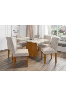 Conjunto De Mesa De Jantar Com Tampo De Vidro Jasmin E 6 Cadeiras Giovana Ii Animalle Off White E Creme