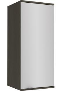 Armário Aéreo Kappesberg Nox 1 Porta 2 Prateleiras 40Cm Onix E Steel