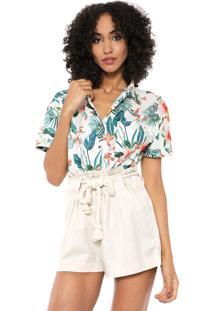 Camisa Dzarm Floral Branca/Verde