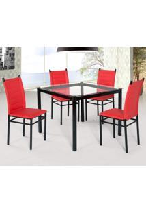 Conjunto Sala De Jantar Tokio Mesa 4 Cadeiras Art Panta Preto/Vermelho