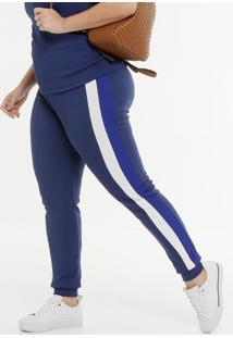 Calça Plus Size Feminina Jogger Listras
