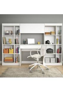 Home Office Com 1 Escrivaninha 2 Estantes 1 Armário Prime Web Siena Móveis Branco