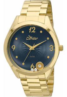 b17c1aab5b9 Okulos. Relógio Feminino Condor Analógico Com Cristais Swarovski  Co2036kot 4a Dourado