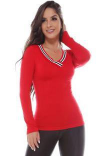 Blusa Sem Costura Com Punho Na Gola Vermelho