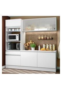 Cozinha Compacta Madesa Topazio Com Balcáo E Tampo Branco