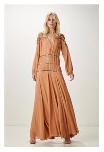 Vestido Longo Moedas Bordadas Pele Tan
