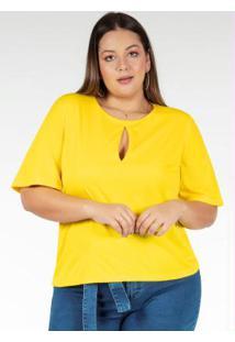 Blusa Amarela Com Gota No Decote Plus Size