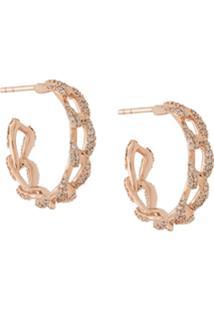 Astley Clarke Par De Brincos De Argola Rugiada De Ouro Rosé 14K Com Diamante - Dourado