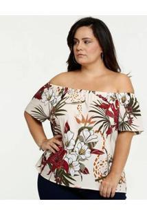 Blusa Ombro A Ombro Tropical Plus Size Marisa Feminina - Feminino-Bege
