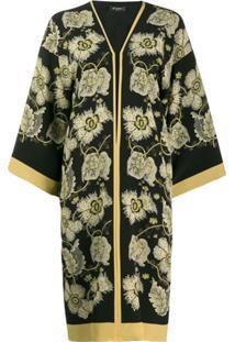 Etro Floral Print Duster Coat - Preto