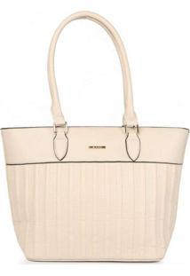 Bolsa Shopping Feminina Gash Recortes Bege