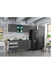 Cozinha Compacta Nevada I 9 Pt 7 Gv Grafite E Branca
