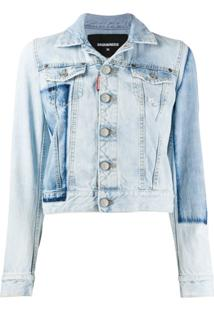 Dsquared2 Jaqueta Jeans Cropped Patch - Azul