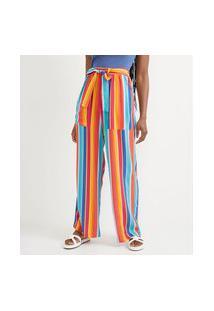 Calça Pantalona Em Viscose Com Faixa Para Amarração E Estampa De Listras   Blue Steel   Azul   P