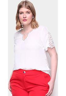 Blusa Eagle Rock Plus Size Renda Feminina - Feminino-Branco