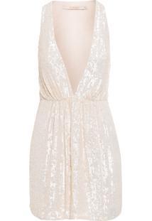 Vestido Paetê Decote - Off White