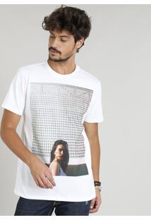 Camiseta Masculina Com Estampa De Mulher Manga Curta Gola Careca Branca