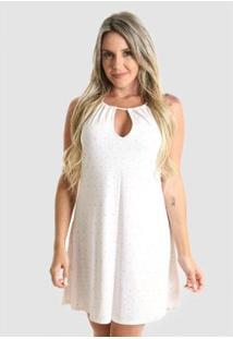 Vestido Praaiah Decote Gota Junto Misturado Feminino - Feminino-Branco