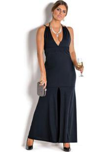 Vestido Longo Preto Com Fenda Frontal