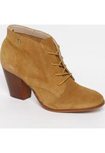Ankle Boot Em Couro Com Tag - Bege Escuro - Salto: 7Loucos E Santos