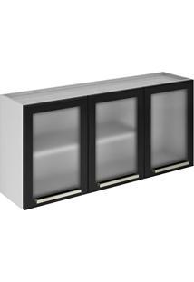 Armário 3 Portas Com Vidro Dandara Itatiaia Ipv3-120 Nigra