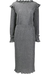 Alberta Ferretti Metallic Knit Ruffled Midi Dress - Preto