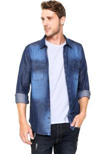 Camisa Jeans Sergio K Reta Recortes Azul