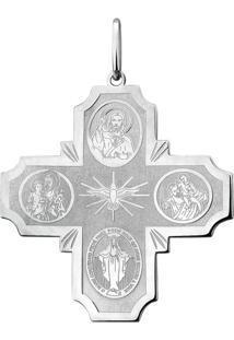 Pingente Joia Em Casa Crucifixo Todos Os Santos Prata