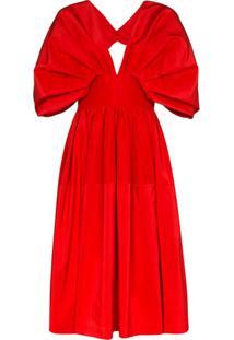 Alexander Mcqueen Vestido Midi Evasê - Vermelho