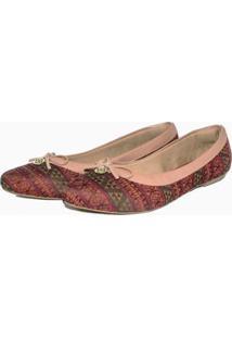 Sapatilha Péz Descalços Pingente Estampada Feminina - Feminino-Vermelho