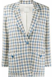Sandro Paris Blazer De Tweed Com Padronagem Pied-De-Poule - Azul