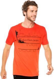Camiseta Calvin Klein Jeans Spray Laranja