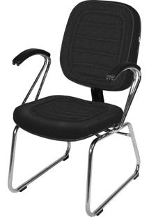 Cadeira Interlocutor Base Trapã©Zio C/ Braã§O Preta - Cinza - Dafiti