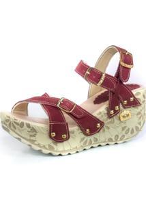 Sandalia Feminina Top Franca Shoes Plataforma Anabela Vinho
