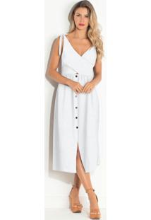 Vestido Com Botões Frontais Branco