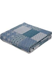 Kit De Colcha Com Porta Travesseiros Solteiro Andrezza Azul