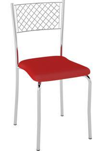 Kit C/ 2 Cadeiras Assento Vermelho Pozza